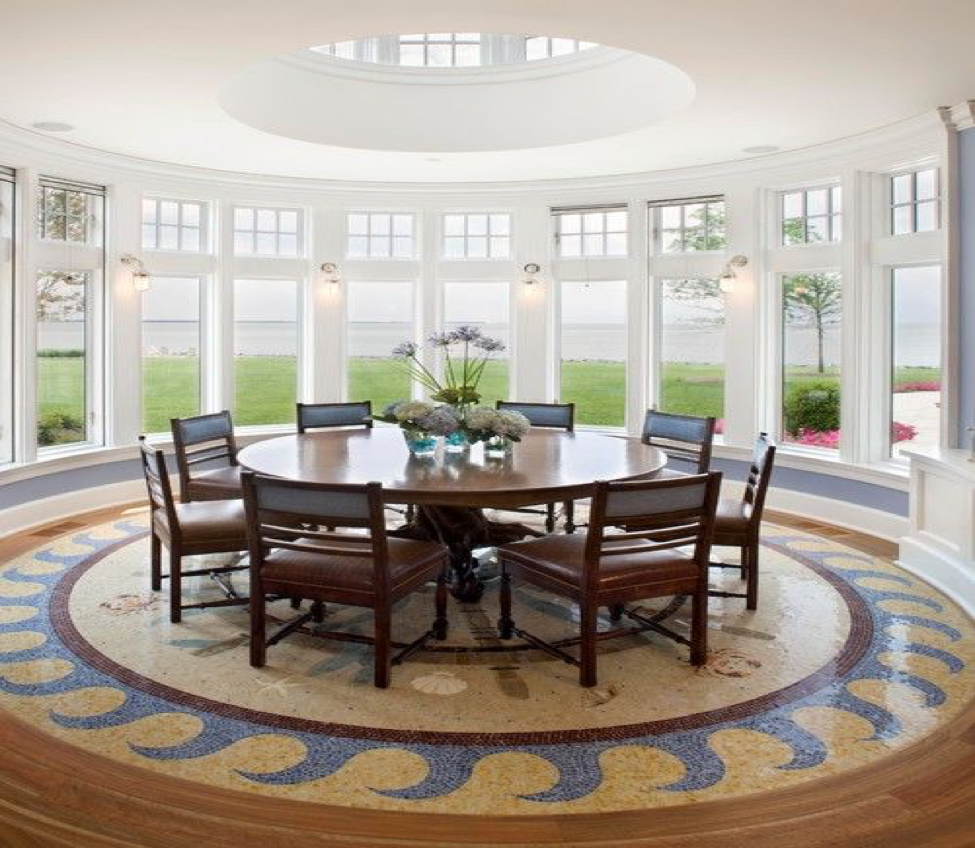 Bay house dining room featuring radial balance, by DE. Bruce Palmer Coastal  Design.
