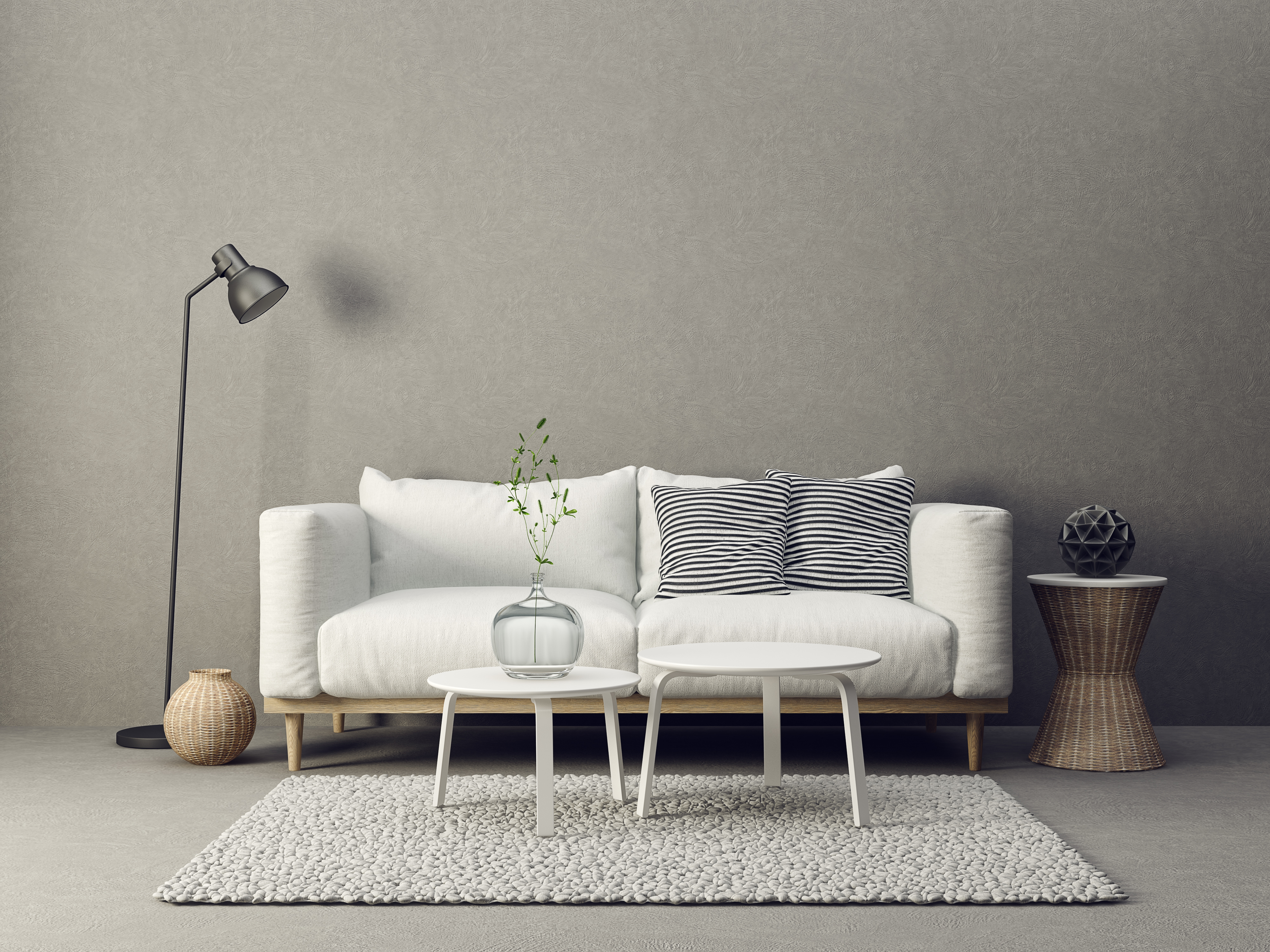 modern living room interior with furniture. 3d illustration